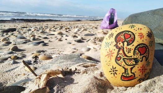 """Pedro Gomes Pato: """"Cada pedra desenhada vai representar um saco de lixo que eu tirei da praia"""""""